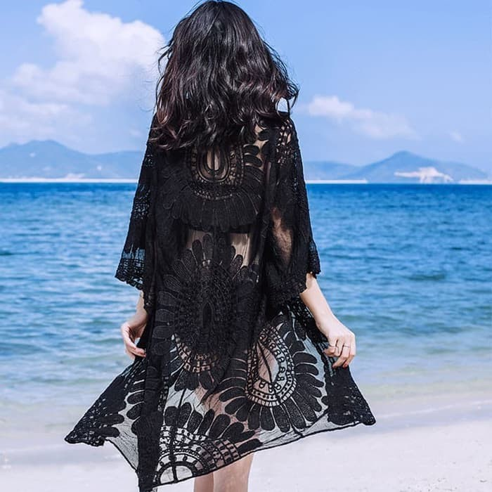 jual SUNFLOWER Outer Beach Top Kimono Bikini Outer Cover Up Baju Renang - Hitam