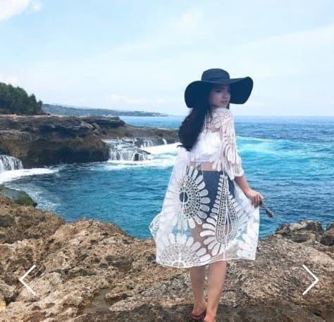 jual SUNFLOWER Outer Serenity Beach Top Kimono Bikini Outer Cover Up Bra - Hitam