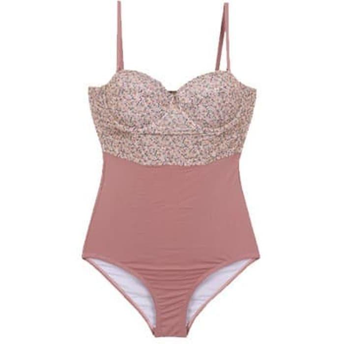 jual Bikini Swimsuit Monokini Baju Renang Celana Dalam Underwear Lingerie - Merah Muda, M