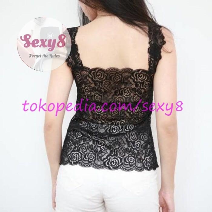 jual SEXY8 - Long Lace Top Brokat Brukat Tanktop Kemben Bikini Crop Top BH - Hitam