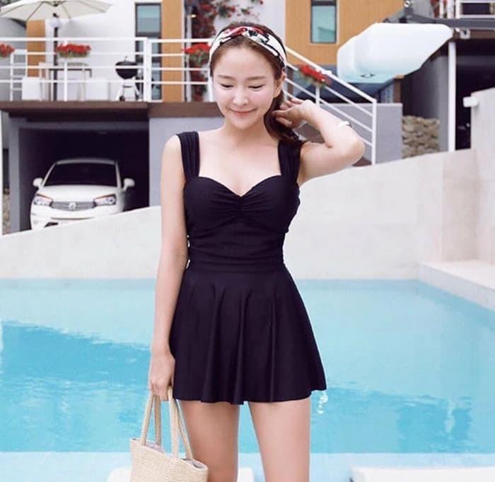 jual bikini one piece skirt sexy tankini crop baju renang celana rok murah - Hitam, M