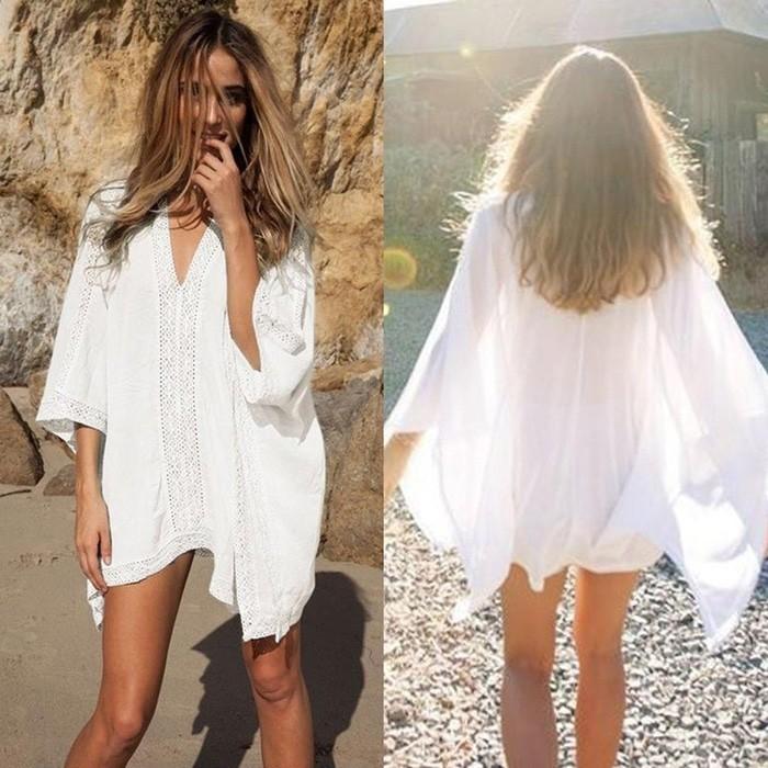 jual SERENITY BEACH TOP Bikini Outer Luaran Bra Kamisol Blouse Baju Pantai - Putih
