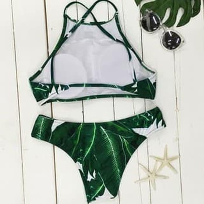 jual BIKINI Set Swimsuit Swimwear Baju Renang   Lingerie Bra Monokini - Green, S