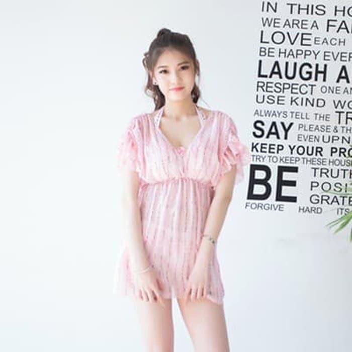 jual set 3 pcs bikini dress mini ruffle baju renang outer   murah bra - Navy, M
