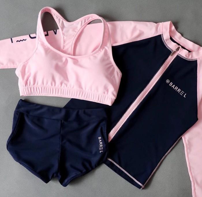 jual Baju Renang Korea Bikini Set Monokini Swimsuit Swimwear Sport Jaket - PINK, M