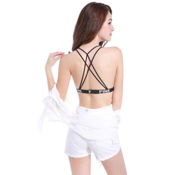 jual Sport Bra Fashion White Ladies Sexy Fancy Gym Bra Bikini133 - Putih