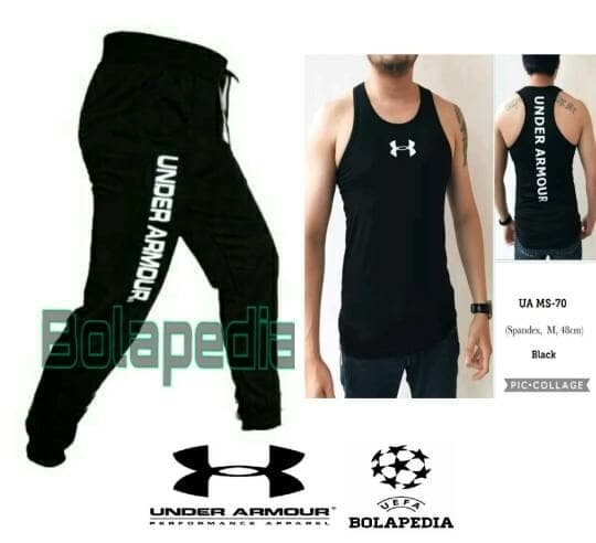jual PAKET Kaos Singlet + celana jogger pants gym fitness underarmour