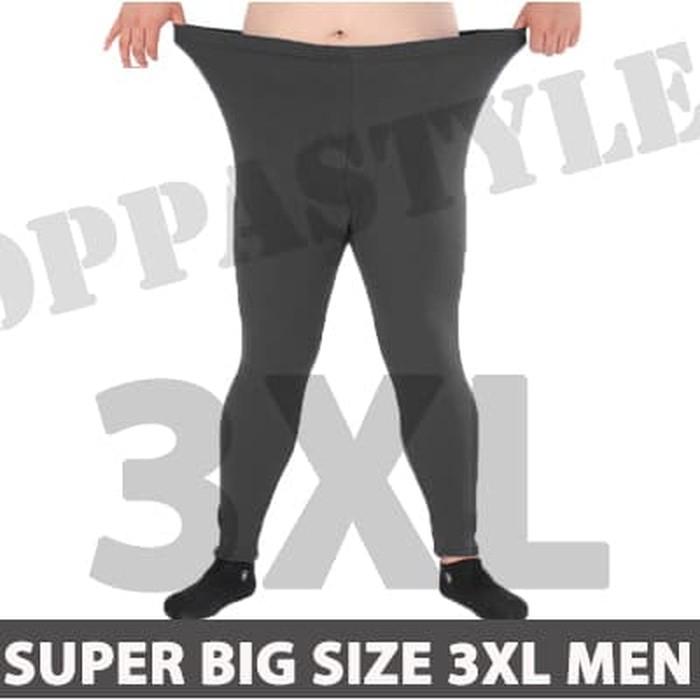 jual SUPER   SIZE 3XL BASIC LEGGING PRIA CELANA LEGGING PANJANG TRAINING - BLACK