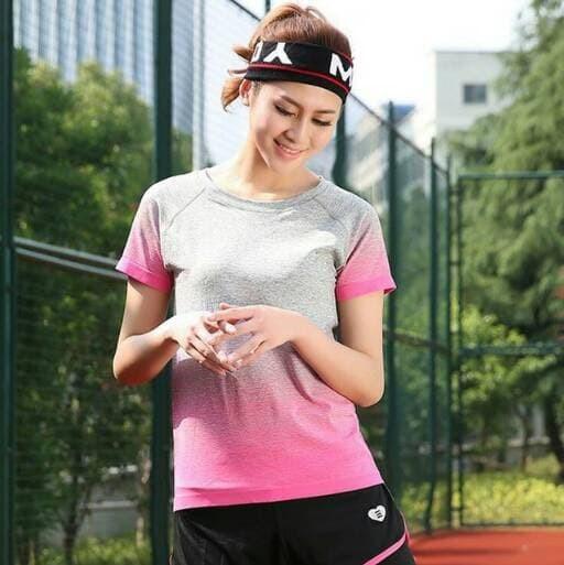 jual Kaos T-shirt Baju Sport Gym Yoga Olahraga Fitnes Senam Jogging