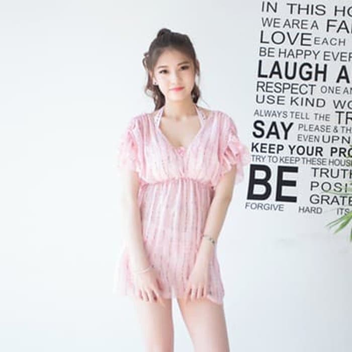 jual set 3 pcs bikini dress mini ruffle baju renang outer   murah bra - Merah Muda, S