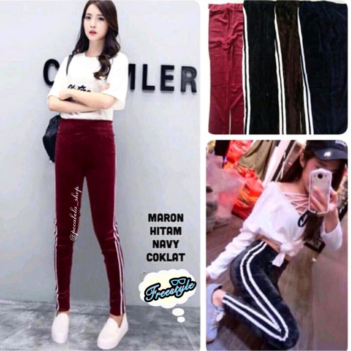 jual Sandra List Velvet Leggings Import