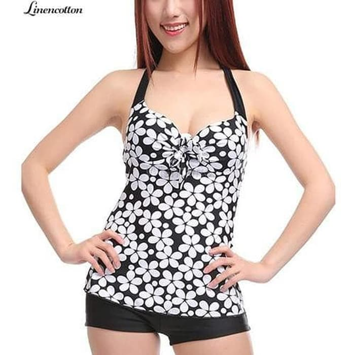 jual baju renang   murah bikini polos tankini swimsuit murah busa bra - Hitam, L