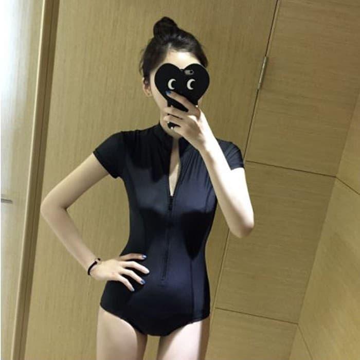 jual bikini long one piece black baju renang lengan bikini polos murah busa - Hitam, M