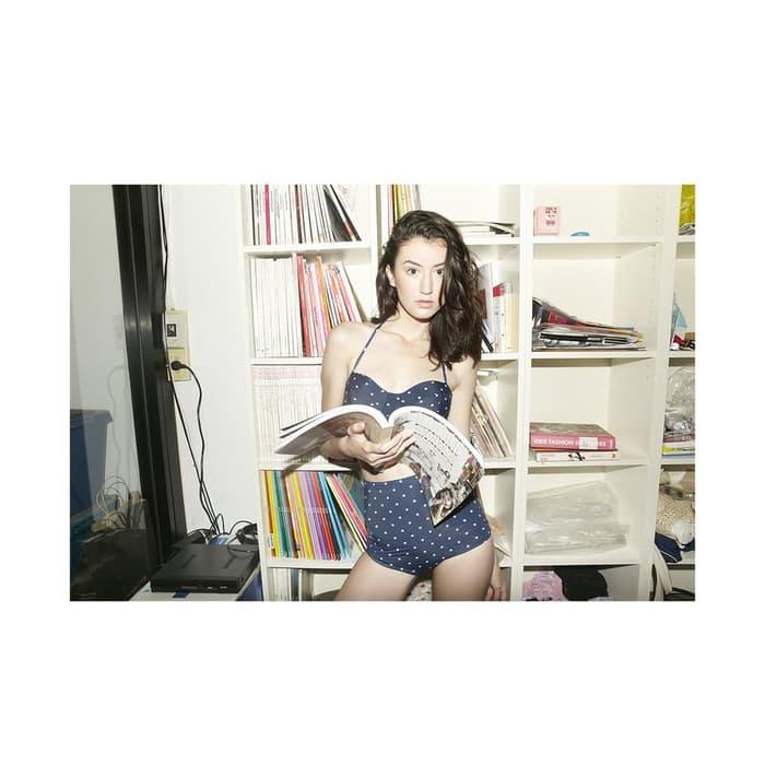 jual Baju Renang   Bikini Polos Murah Baju Renang Two Piece Bra   - Navy, M
