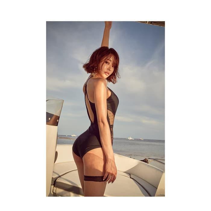 jual bikini sexy one piece monokini swimwear black monokini murah busa bra - Hitam, M