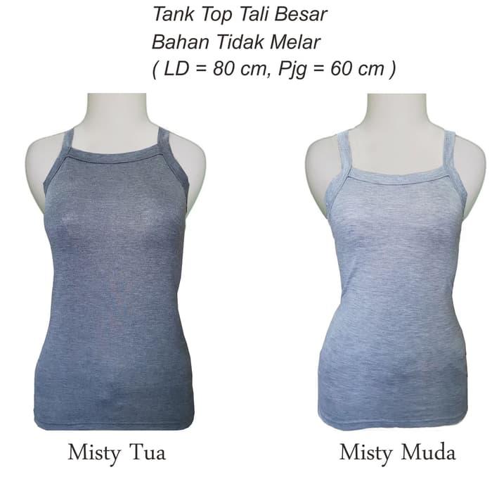jual Tank Top Tali Besar Wanita warna Misty T015 - Misty Muda