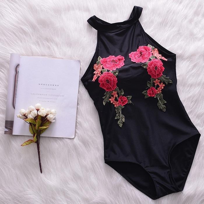 jual bikini sexy one piece monokini swimwear black floral monokini murah