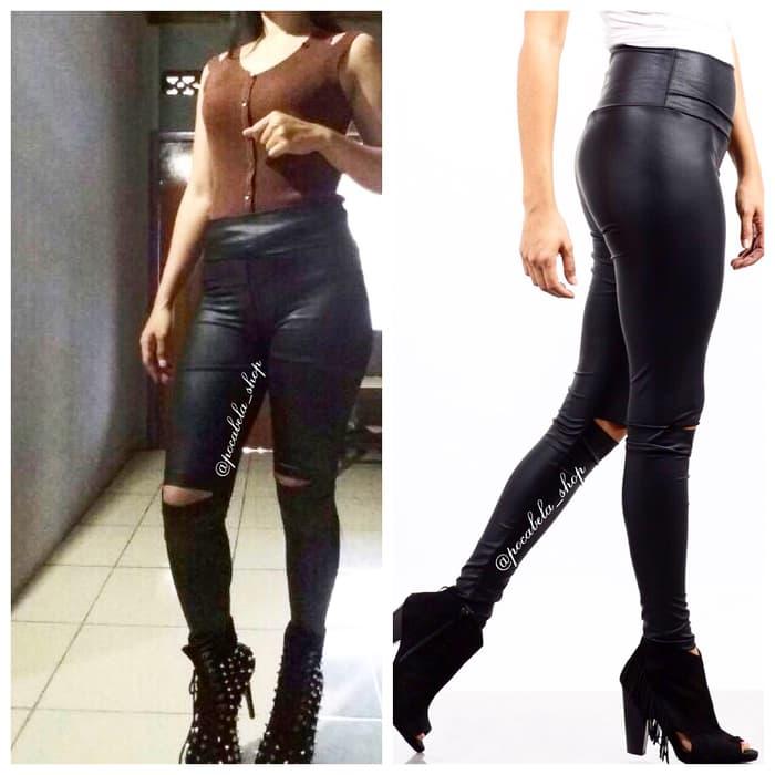 jual Ashley Ripped Leather Leggings