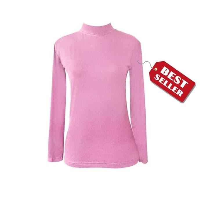 jual Manset Baju Kaos Dalam Wanita Lengan Panjang Pink