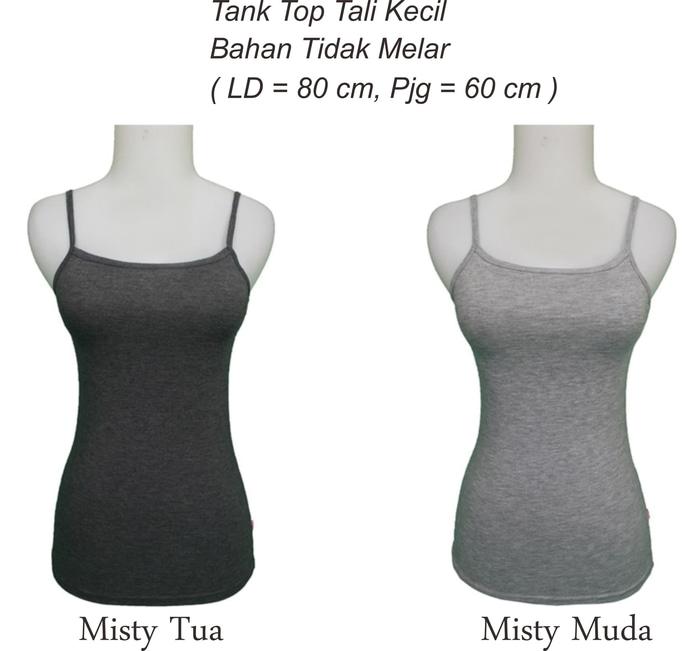 jual Tank Top Tali Kecil Wanita warna Misty T014 - Misty Muda