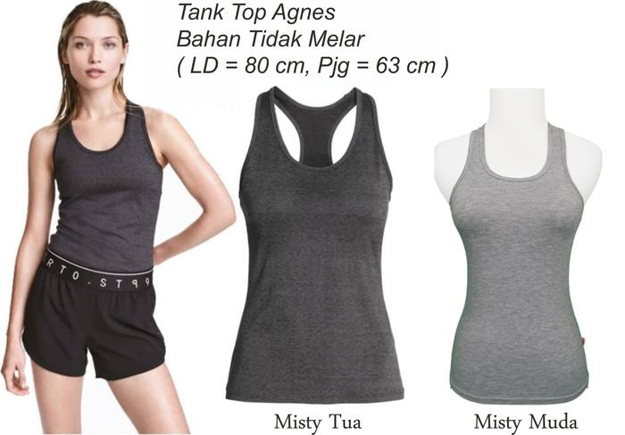 jual Tank Top Agnes / Sport Wanita warna Misty T012 - MIsty Muda