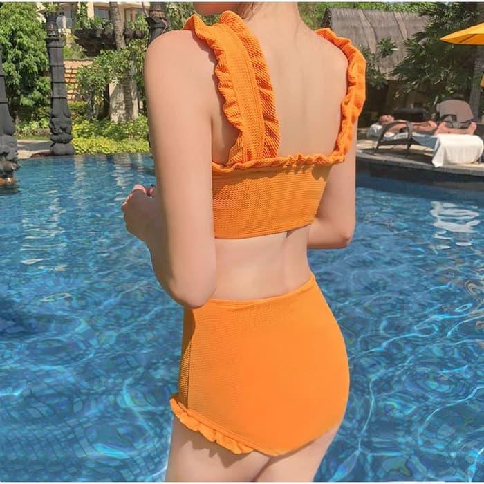 jual Bikini Set Bra Baju Renang   Swimsuit Swimwear     Kemben - Orange, M