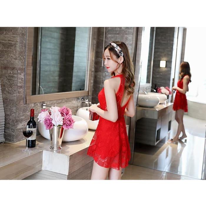jual mini dress beach pantai bikini one piece skirt baju renang rok bh bra - Merah