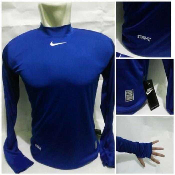jual Baselayer Manset Bola Grade Ori Nike Blue Stormfit