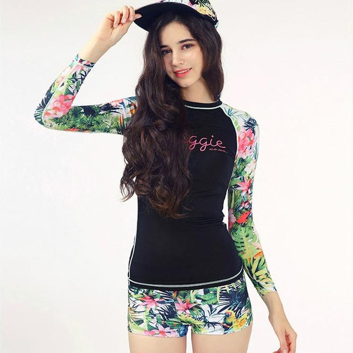 jual bikini set long diving boxer 2pcs baju renang motif panjang swimwear