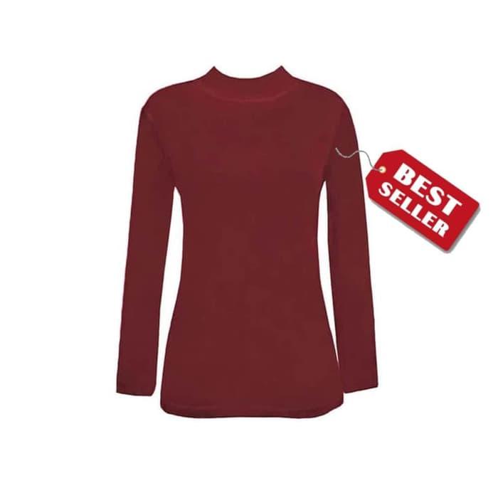 jual Manset Baju Kaos Dalam Wanita Lengan Panjang Merah Maroon