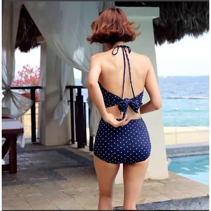 jual DOTTED NAVY Baju Renang   Bikini Murah Baju Renang Two Piece Busa - Navy, M