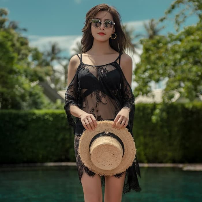 jual set 3 pcs bikini dress mini ruffle baju renang outer   bra murah - Hitam, M