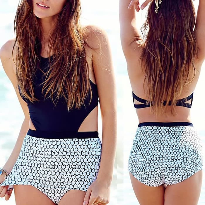 jual Baju Renang   Bikini Set Swimsuit Monokini Swimwear Murah BH Bra - ONE PIECE, L