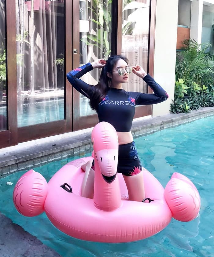 jual Baju Renang Lengan Panjang Bikini Set Korea Murah Busa Bikini Polos BH - Hitam, M