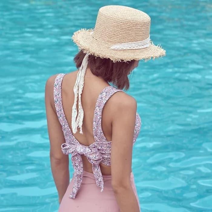 jual bikini set crop top tankini tali bustier kemben     bandage bra - PINK, M