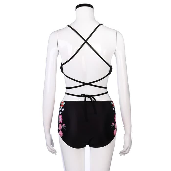 jual Bikini Baju Renang   Swimwear Swimsuit Floral Lingerie Bra Murah - Hitam