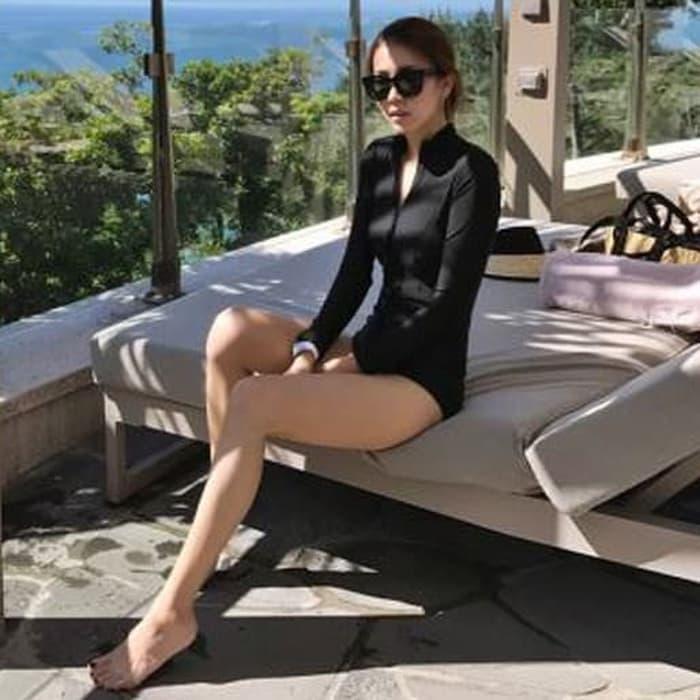 jual bikini long one piece black baju renang lengan panjang bathing suit bh - Hitam, M