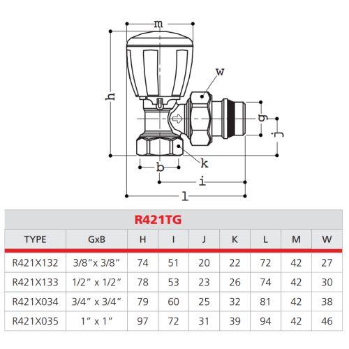 Robinet thermostatisable équerre série fer Giacomini R421TG photo du produit Secondaire 1 L