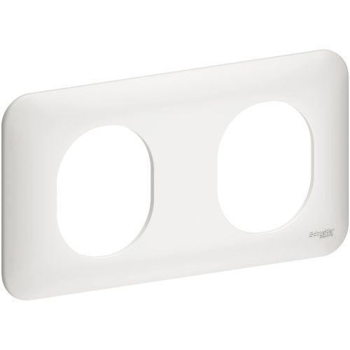 Plaque OVALIS 2 postes horizontal 71mm blanc - SCHNEIDER ELECTRIC - S260704 pas cher Principale L