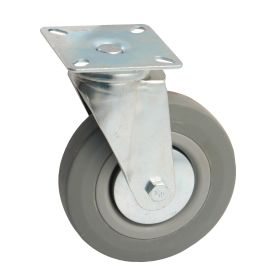 Roulettes ameublement caoutchouc grise à platine photo du produit Principale M