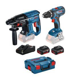 Pack 2 outils sans fil Bosch 18 V (GSR 18 V-28 + GBH 18 V-21) + 2 batteries 4 Ah + chargeur + L-Boxx photo du produit