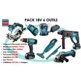 PACK 18V 6 OUTILS (DHP453/DHR202/DCL180/DGA452/DSS610/DBO180) photo du produit