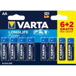 Pack piles Varta LONGLIFE AA/L06 6 + 2 gratuites pas cher