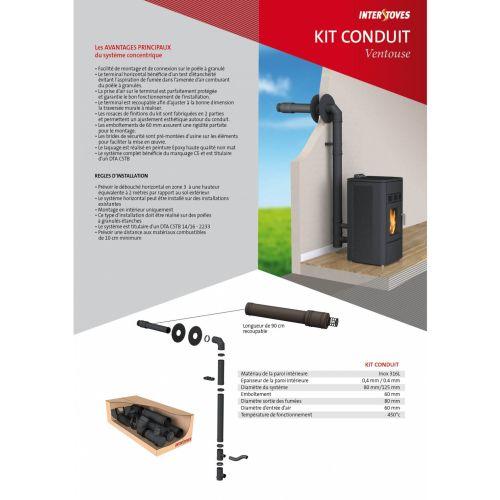 Kit Conduit conduit ventouse pour poêle à granulés - STOVIA - KITCONDUITVENTOUSE pas cher Principale L