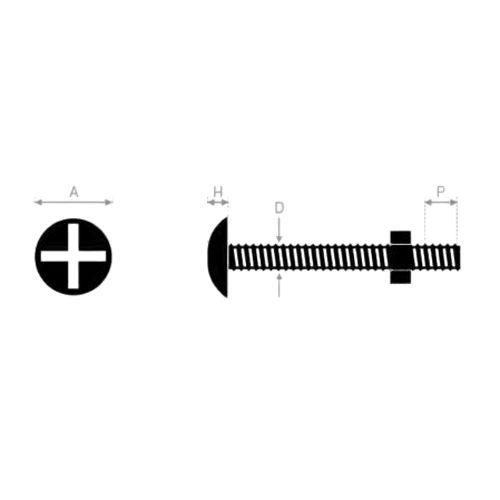 Boulon poelier 10X40 mm tête ronde large fendue en croix - ULTIMA - 80310040 pas cher Secondaire 1 L