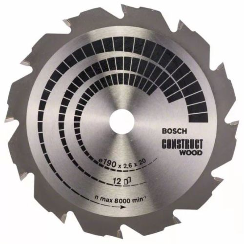 Lame de scie circulaire diamètre 160 x 20 x 2,6 mm pour le bois - 12 dents - BOSCH - 2608640630 pas cher Principale L