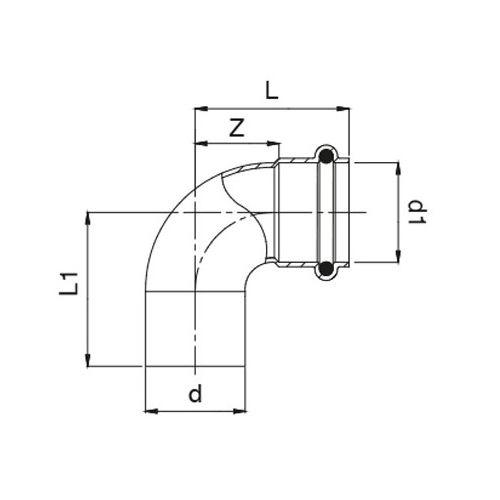 Coudes 90° à joint torique mâle femelle 32 mm - FRABO - RJ50925032032000 pas cher Secondaire 1 L