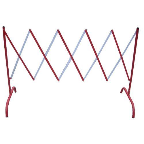 Barrière de chantier extensible en acier rouge/blanc - VISO - BAR001RB pas cher