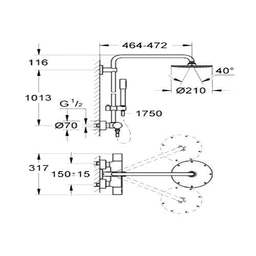 Colonne de douche avec inverseur manuel Rainshower System 210 photo du produit Secondaire 1 L