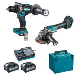 Pack de 2 outils Makita DK0124G201 (DF001G + GA005G) 40 V + 2 batteries 4 Ah + chargeur + Makpac photo du produit